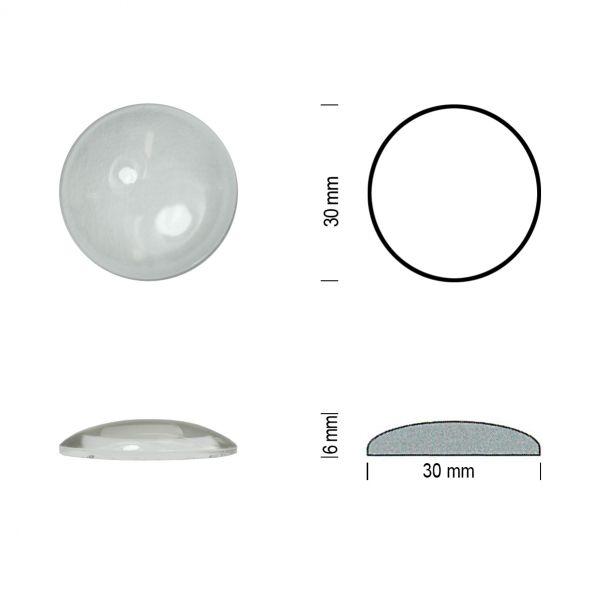 Flachbodenmuggel 30 mm klar