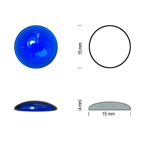 Flachbodenmuggel 15 mm blau