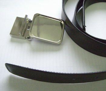 Ledergürtel mit Schnalle vernickelt