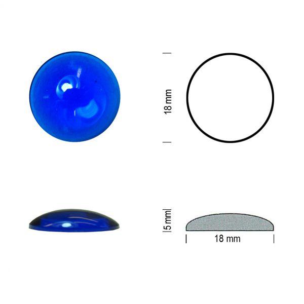 Flachbodenmuggel 18 mm blau