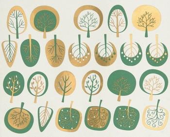 Fusing Decal Bäume modern Türkis+ Gold